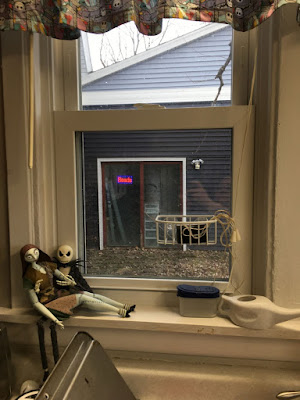 picture from my kitchen window to the sliding doors of the studio.  check out my blinkly sign! makes me happy to see it on when i'm washing dishes instead of creating!