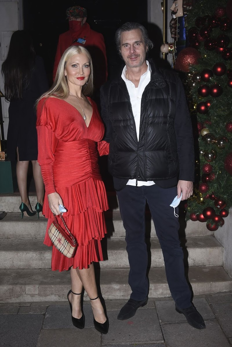 Caprice Bourret Clicked in a Red Dress at Annabel's Club in London 10 Dec-2020