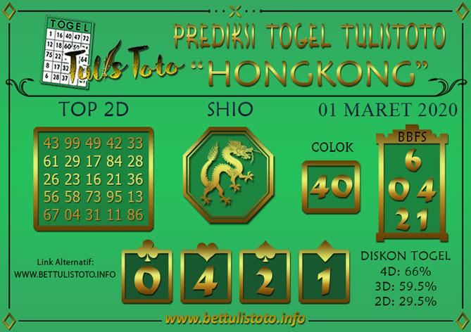 Prediksi Togel HONGKONG TULISTOTO 01 MARET 2020