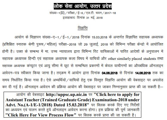 image : Uttar Pradesh Assistant Teacher (Trained Graduate Grade) Exam -2018 @ TeachMatters