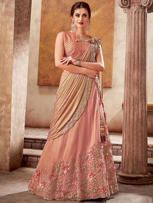 Indian Party Wear Peach Silk Designer Embroidered Lehenga Saree with 3D Flowers