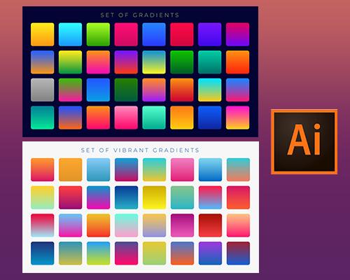 تدرجات لونية Color gradients إحترافية لبرنامج الأدوبي الستريتر Adobe Illustrator