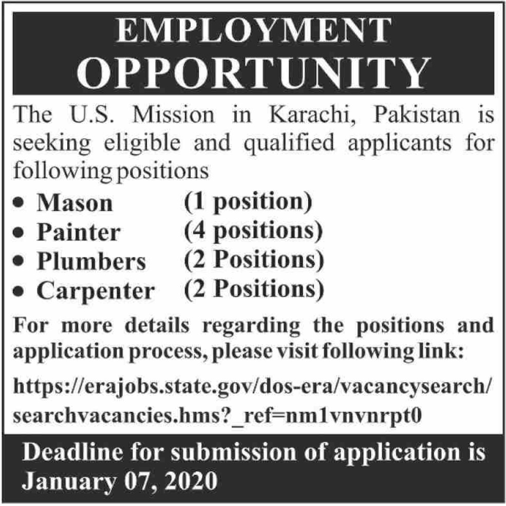 U.S. Mission in Karachi Pakistan Jobs 2020