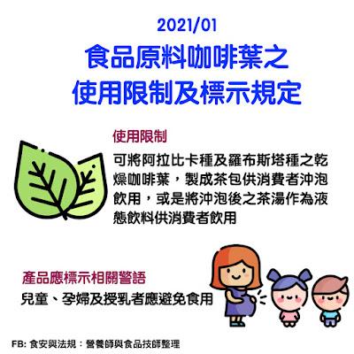 台灣營養師Vivian【法規懶人包】2021/01食品原料咖啡葉之使用限制及標示規定