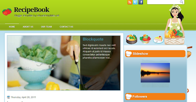 Cookery Food Blogger Template