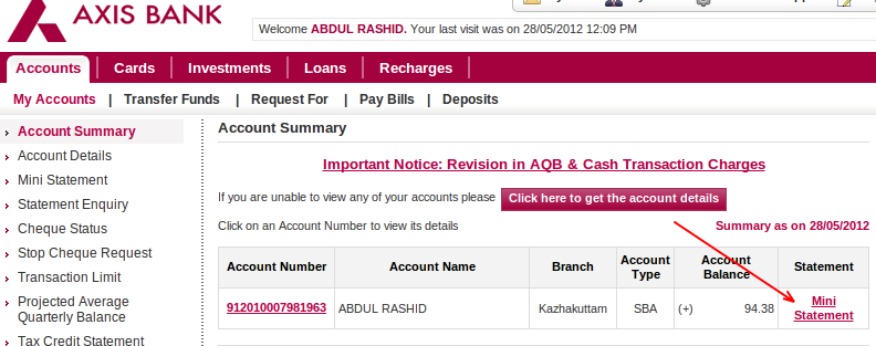 Axis Bank Personal Loan Account Statement Online