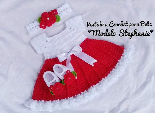 "Vestido de Bebé ""Modelo Stephanie"" a Crochet"