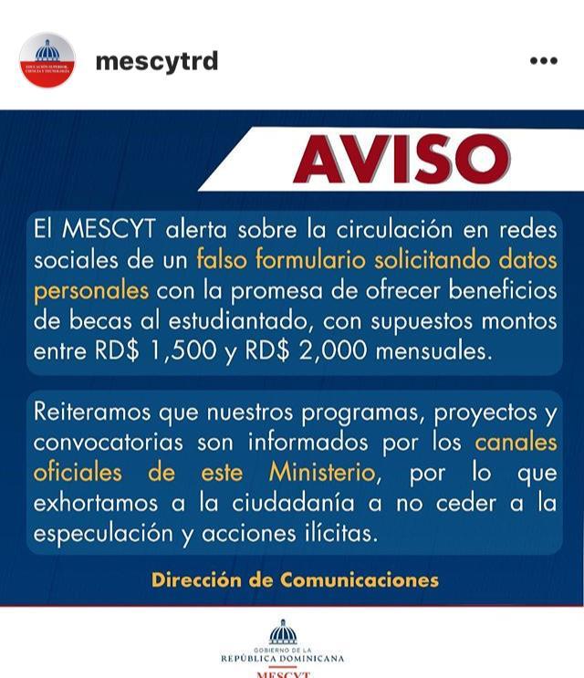 MESCYT ALERTA SOBRE FALSO FORMULARIO QUE CIRCULA EN LAS REDES SOCIALES PROMETIENDO AYUDAS