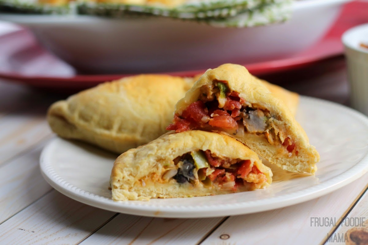 These Easy Chile Relleno Empanadas are filled with chiles, black beans, brown rice, cheese, & diced tomatoes and take just 4 ingredients & 30 minutes to make.
