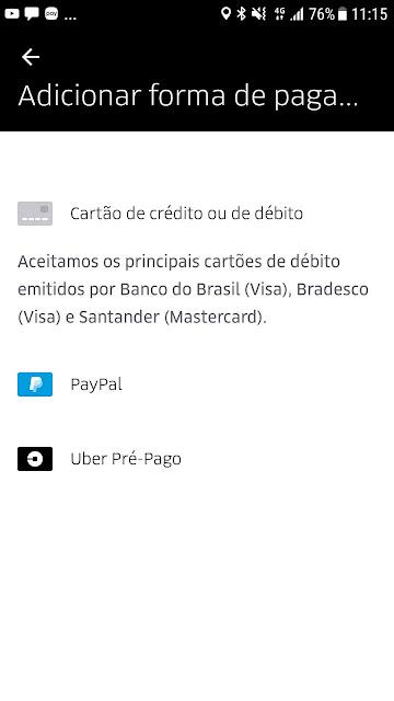 Uber passa a operar com crédito pré-pago no Brasil