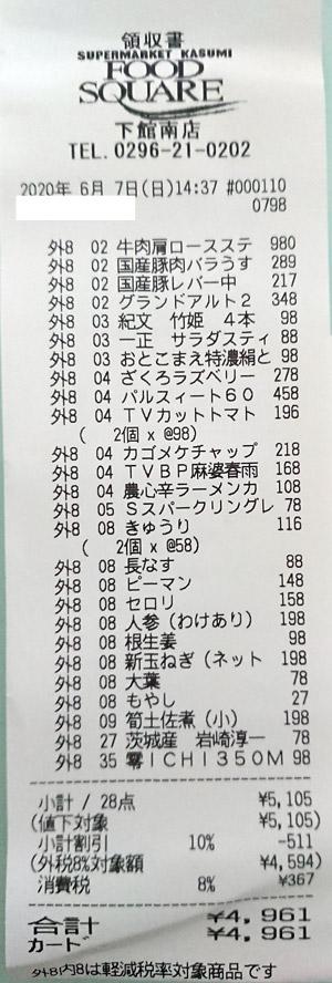 カスミ フードスクエア下館南店 2020/6/7 のレシート
