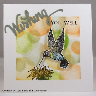 ODBD Wishing Words Stamp/Die Duos, Hummingbird, ODBD Custom Hummingbird Die, ODBD Bee Balm, Card Designed by Lois Baak aka Clownmom