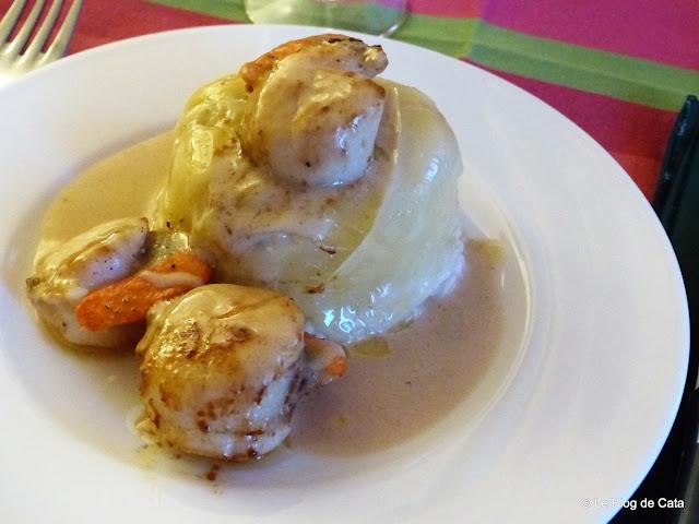 Scoici Saint-Jacques cu orez risotto si branza Comté