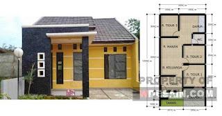 denah rumah 3 kamar ukuran 6x12 - desain rumah minimalis