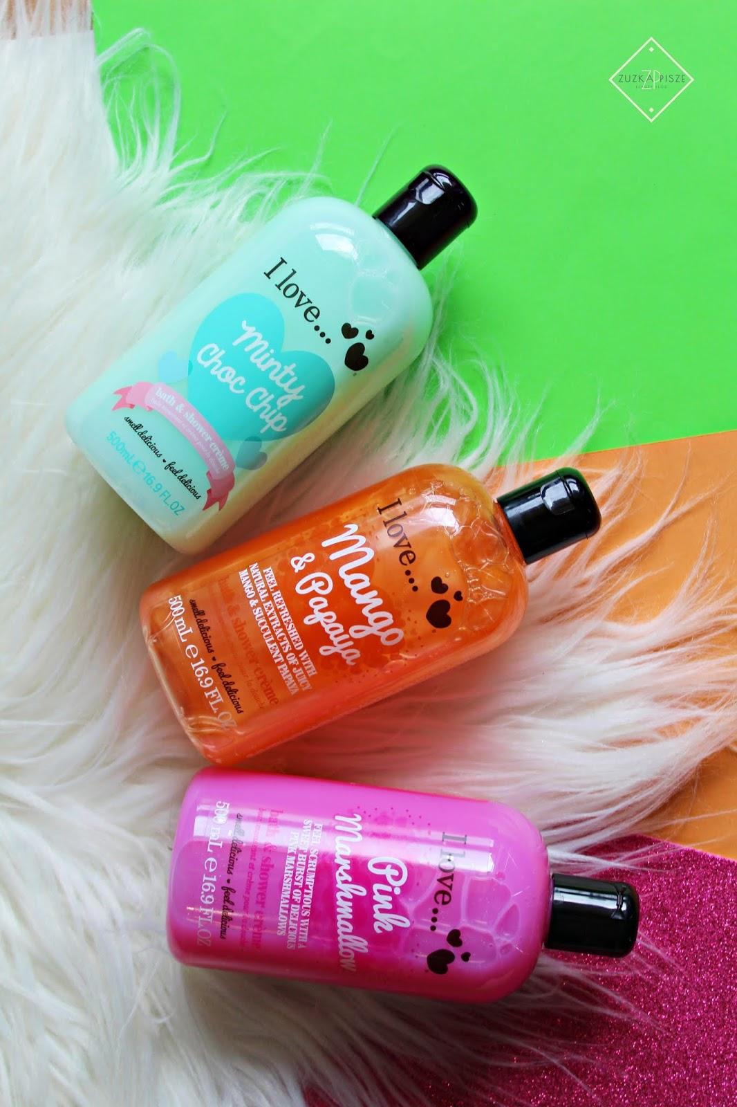Pachnące żele pod prysznic I love... - Minty Choc Chip, Pink Marshmallow i Mango&Papaya