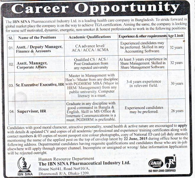 All Newspaper Jobs: The IBN SINA Pharmaceutical Industry
