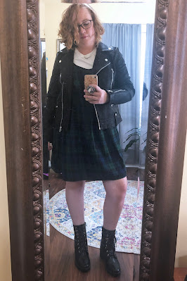 topshop leather jacket over plaid dress