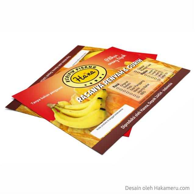 Desain stiker label kemasan produk keripik pisang untuk UKM UMKM IKM