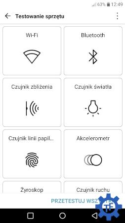 Testowanie podzespołów w telefonie LG