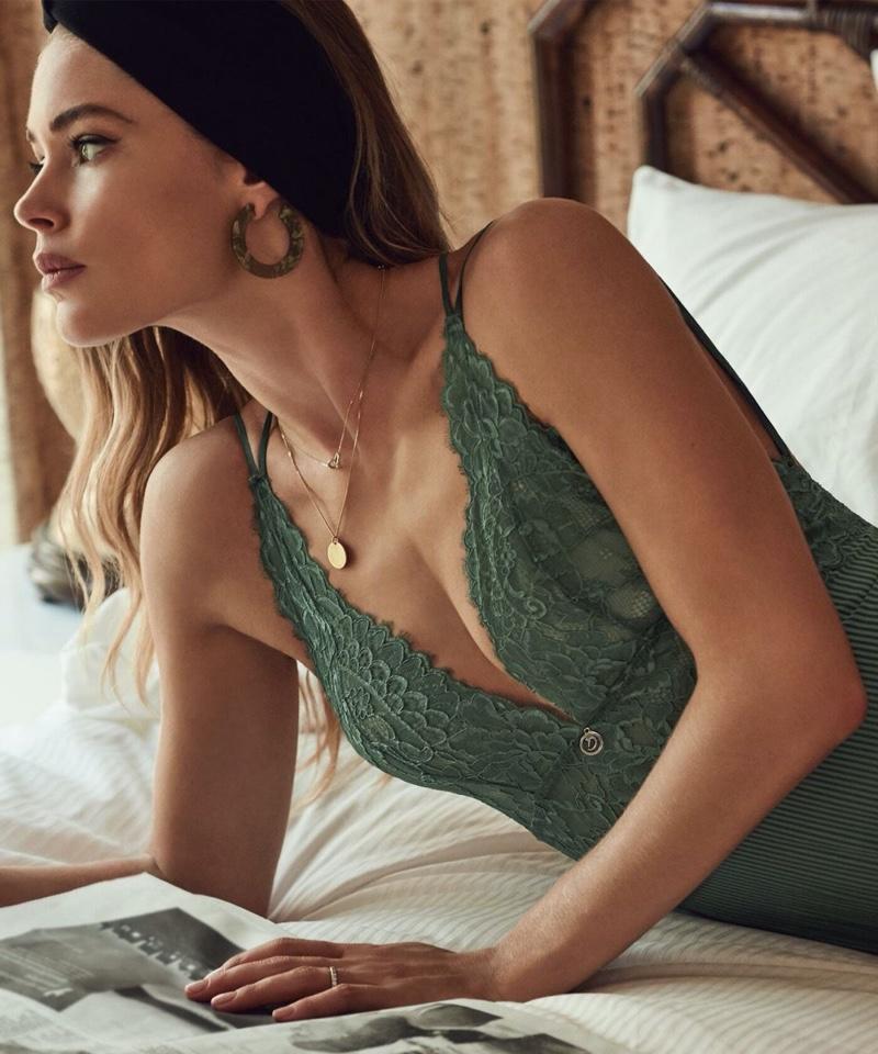 Posing in bed, Doutzen Kroes models Hunkemoller Doutzen Stories spring 2020 campaign