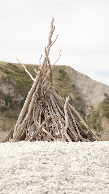 Fort made out of wood on the beach at Kaikoura on the South Island of New Zealand