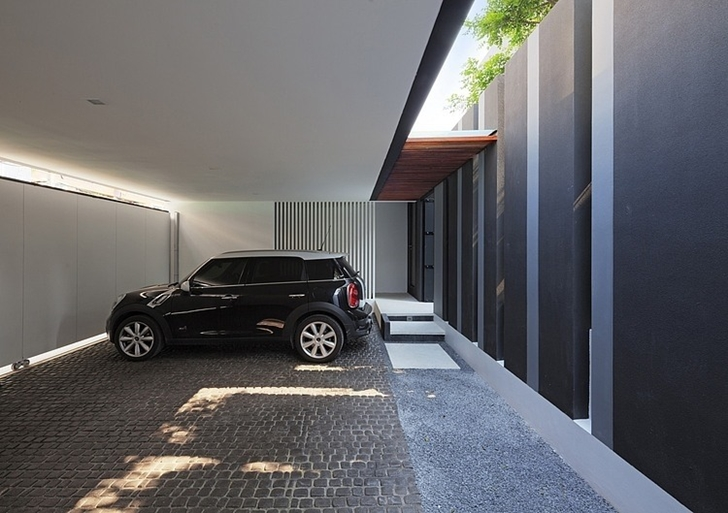 Car in the garage of Modern mansion in Singapore