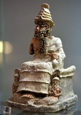 The Mesopotamian God of the Underworld, Ea (Enki) wearing a triple horned crown. 2004 BCE -1595 BCE, on display at the Iraq Museum in Baghdad.