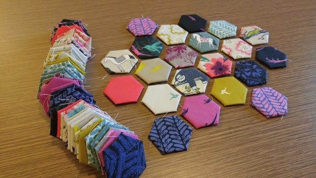 Honeymoon fabric Hexies by Slice of Pi Quilts