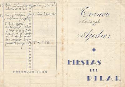 Díptico para anotación de las partidas del Torneo Nacional de Ajedrez Fiestas del Pilar 1942