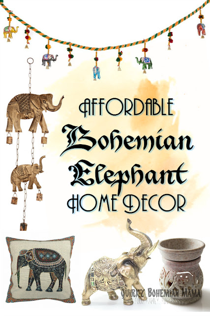 Affordable Bohemian Elephant Home Decor {Boho bohemian hippie home decor under$20} Bohemian home decor. Boho chic decor. Bohemian Interior Design. Indian Elephant home decor. Gifts for elephant lovers. elephant decor for living room elephant decor meaning elephant decor for nursery elephant home accessories elephant decor statue