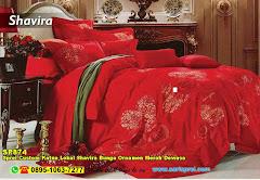 Sprei Custom Katun Lokal Shavira Bunga Ornamen Merah Dewasa