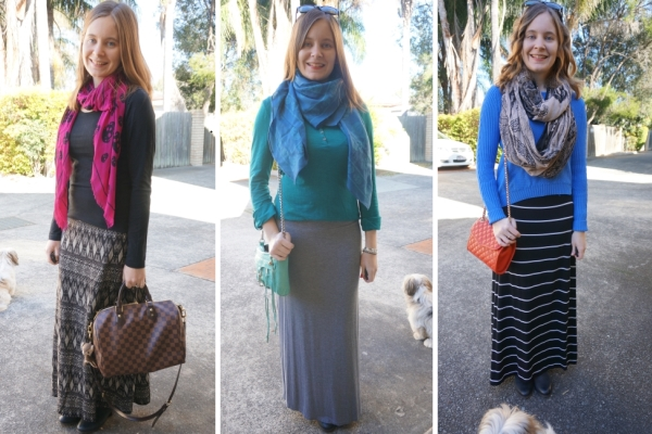 ankle boots and maxi dresses and scarves - colourful winter outfits | Away From Blue