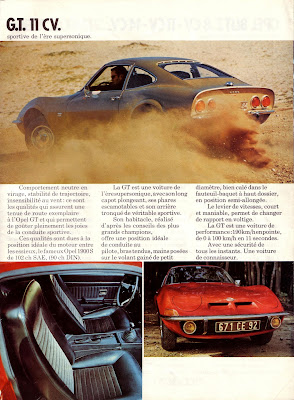 Sales brochure page for Opel GT