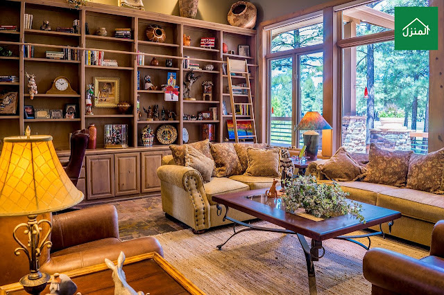 صور ديكور مكتبة في صالة المعيشة