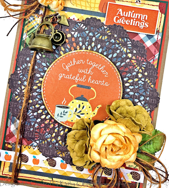 Photoplay Autumn Greetings Card by Kathy Clement for Really Reasonable Ribbon