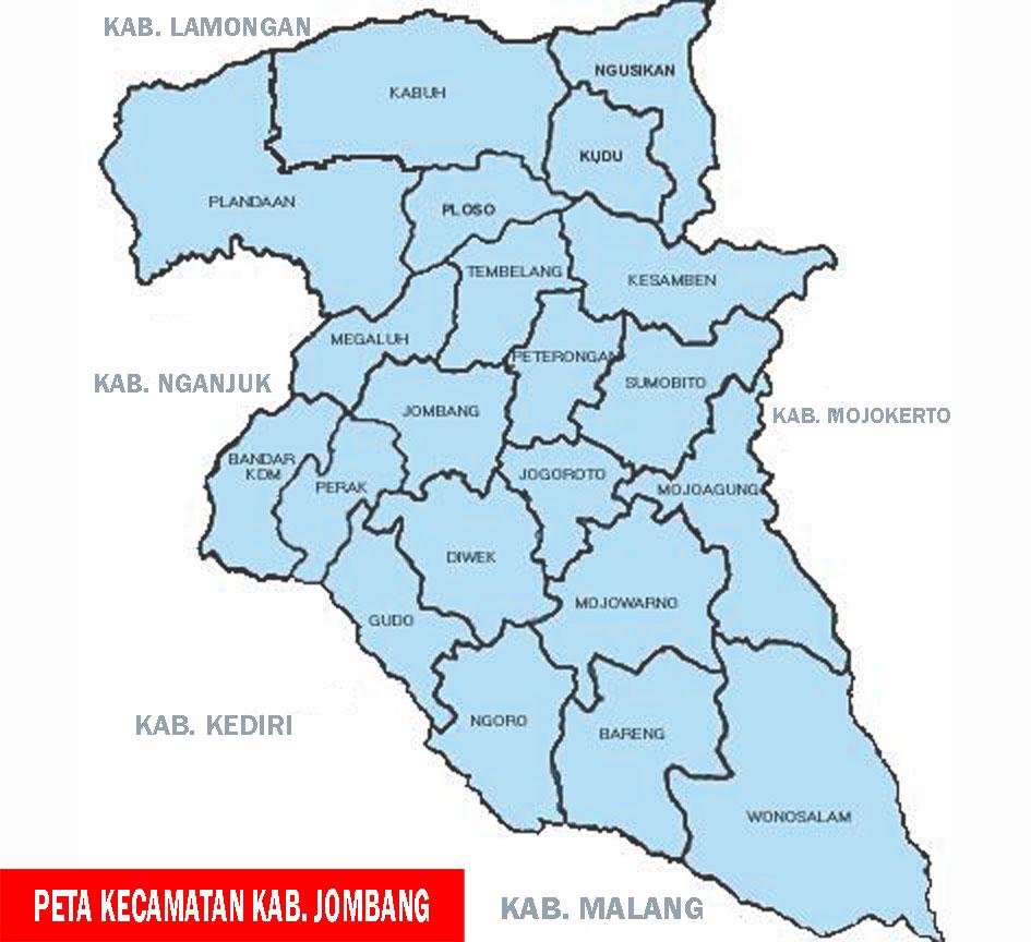 Peta Kabupaten Jombang, Jawa Timur - Sejarah Negara Com