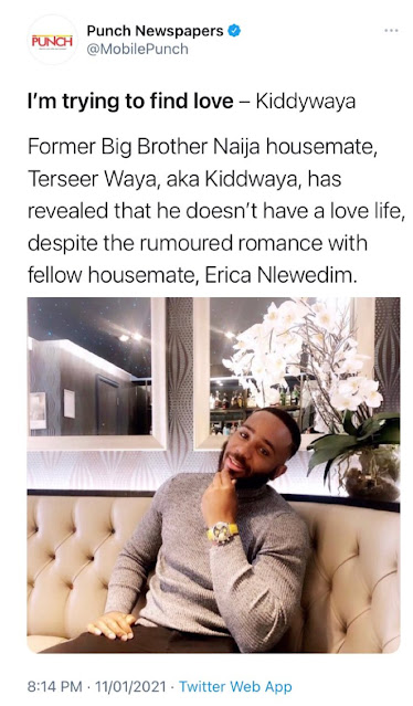 ''She was my girlfriend at the time''- Kiddwaya reveals him and Erica are seperated