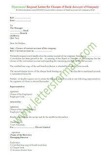 sample letter for closure of company bank account