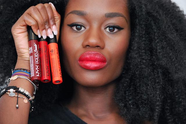 Swatch nyx liquid suede, swatch lipstick, rouge à lèvre peau noire, nyx