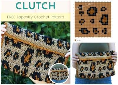 Bolso de mano a crochet con efecto leopardo