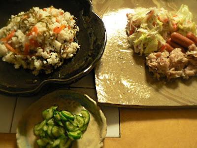 まぜご飯 カット野菜フレンチと炒め物 キュウリ塩もみ