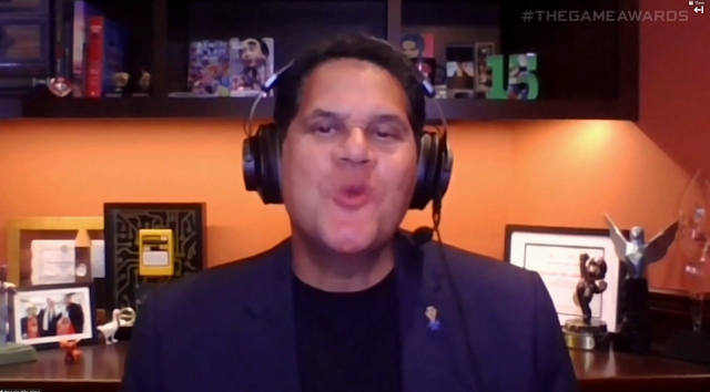 The Game Awards 2020 Reggie Fils-Aime former Nintendo president Innovation in Accessibility award duck kiss face