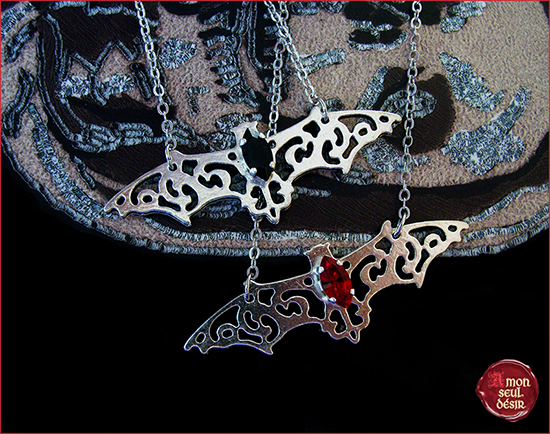 collier gothique chauve souris gothic goth necklace bat vampire girl jewelry