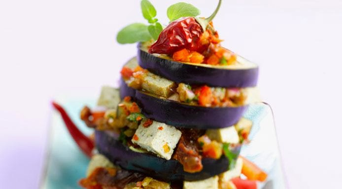 Vegan Aubergine Tower With Tofu & Vegetables image