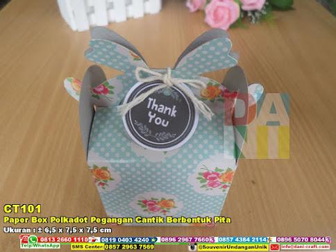 Paper Box Polkadot Pegangan Cantik Berbentuk Pita