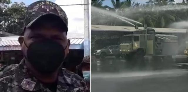 La Policía defiende uso camiones lanza agua para dispersar jóvenes en barrios de SDO