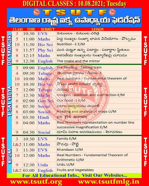 10.08-2021 TS SCERT Online Digital Classes Schedule Video Links and Worksheets Download