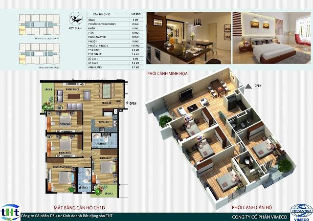 Mặt bằng căn 1D chung cư CT4 Vimeco