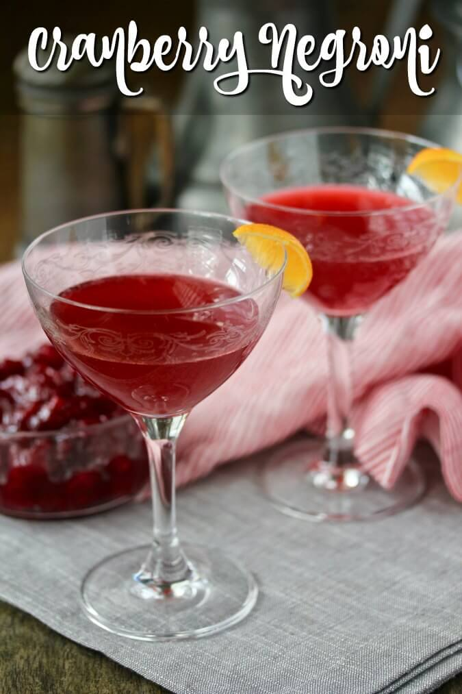 Cranberry negroni in a martini glass