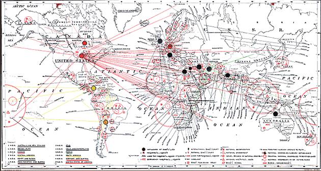 Карта, иллюстрирующая рост веры Бахаи по всему миру, составленная Шоги Эффенди в 1952 г.